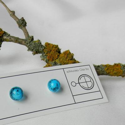 Runde Ohrringe in blau,Ohring aus Glasperlen in türkis, Unikat und Maßanfertigung, Silber, Glasschmuck von schmuckes Glas