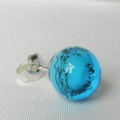 Ohring aus Glasperlen in türkis, Unikat und Maßanfertigung, Silber, Glasschmuck von schmuckes Glas