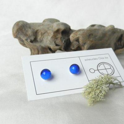 Glasperle in Blau,Ohrstecker Silber, handgefertigt von schmuckes Glas,dunkelblaue kleine Kugel,Klassiker