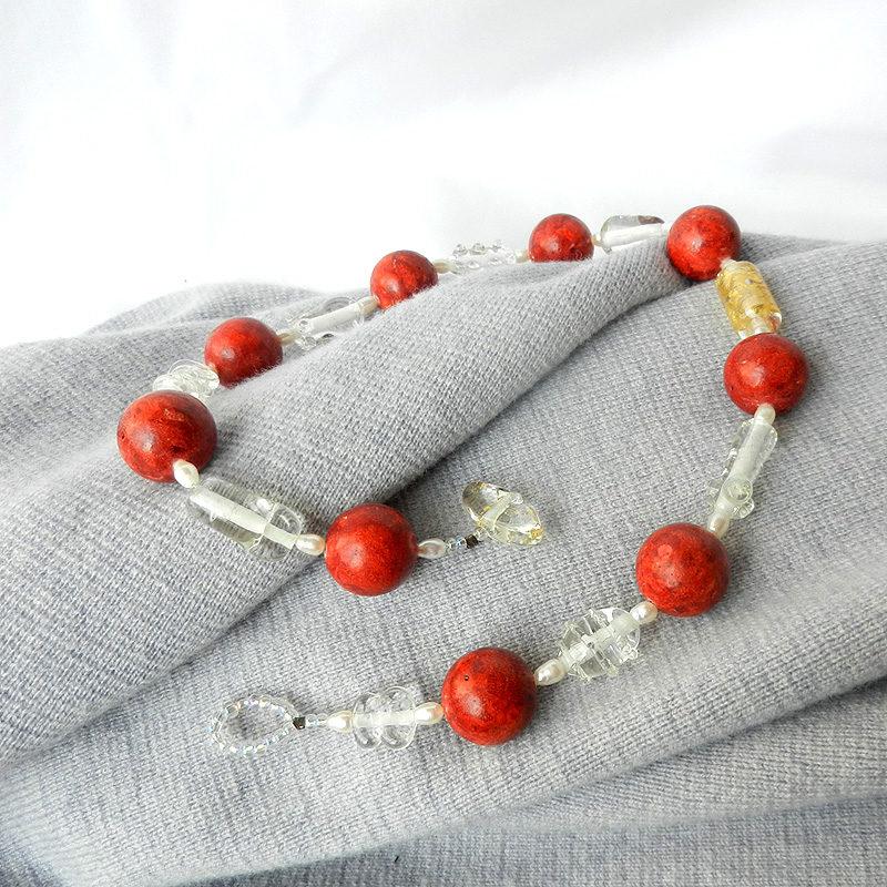 Glasperlen-kette mit Schaumkoralle, handgefertigtes Collier mit Murano Glasperlen, Unikat von schmuckes Glas