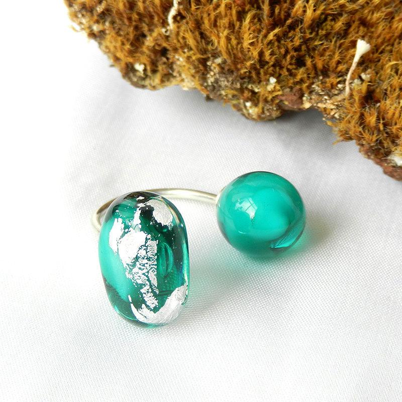 Silber ring mit Glasperlen, Muranoglas mit Silber, handgefertigtes Unikat von schmuckes Glas