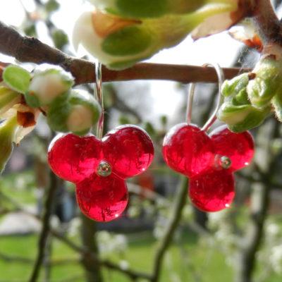 Silber Ohrringe mit roter Glasperle, Glasblüten Ohrring, Ohrgehänge mit roten Blumen, Unikat von schmuckes Glas